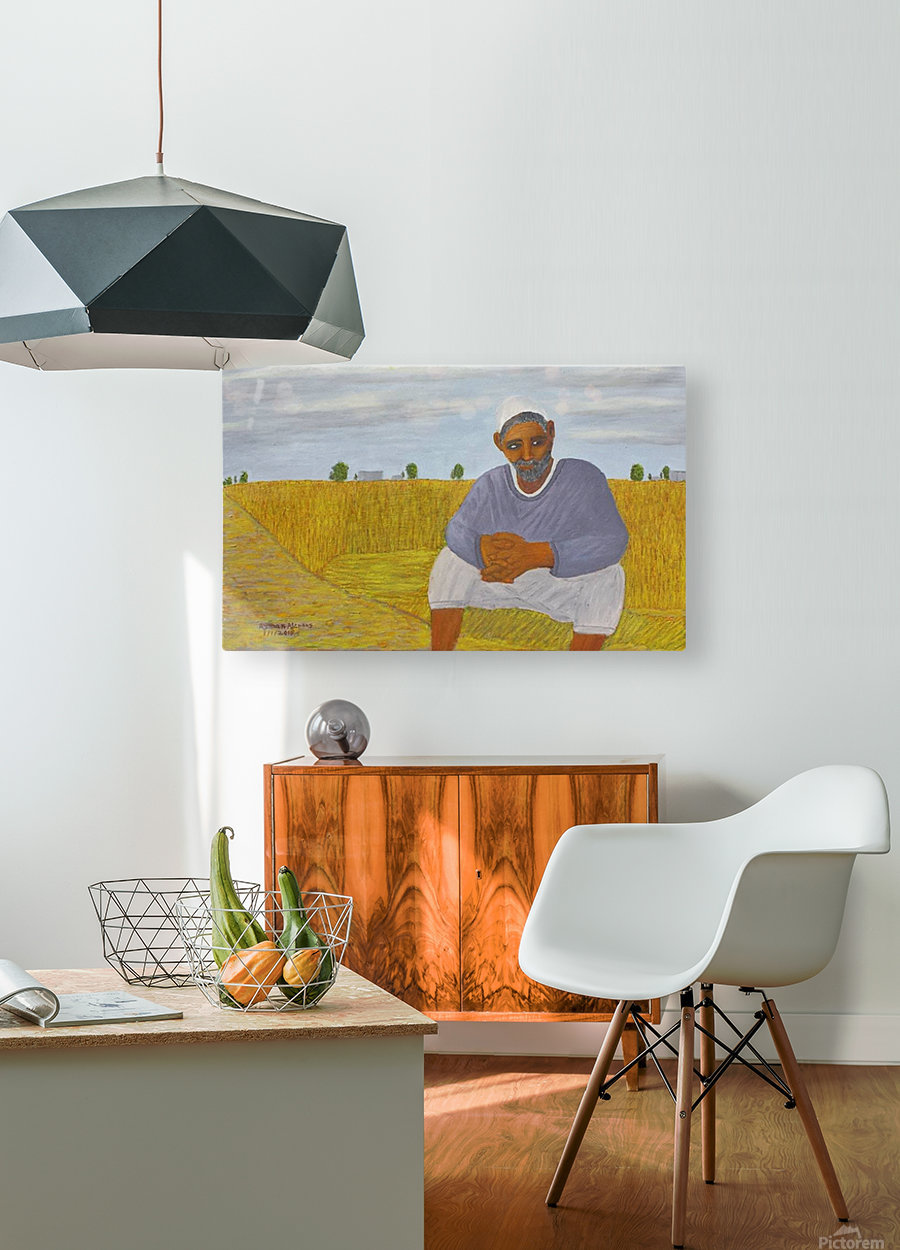 The wheat farmer  HD Metal print with Floating Frame on Back