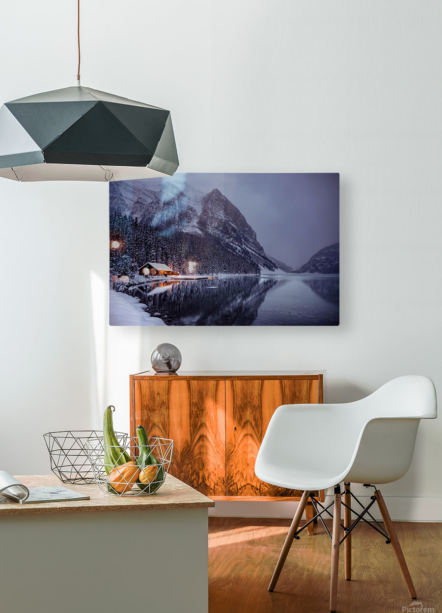Winter Lake Louise   HD Metal print with Floating Frame on Back