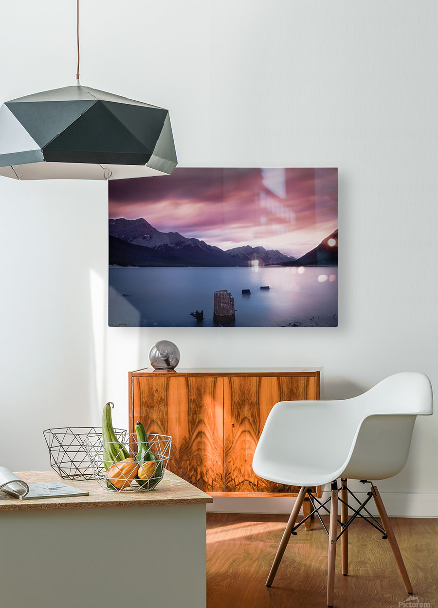 Spray Lake Sunset  HD Metal print with Floating Frame on Back