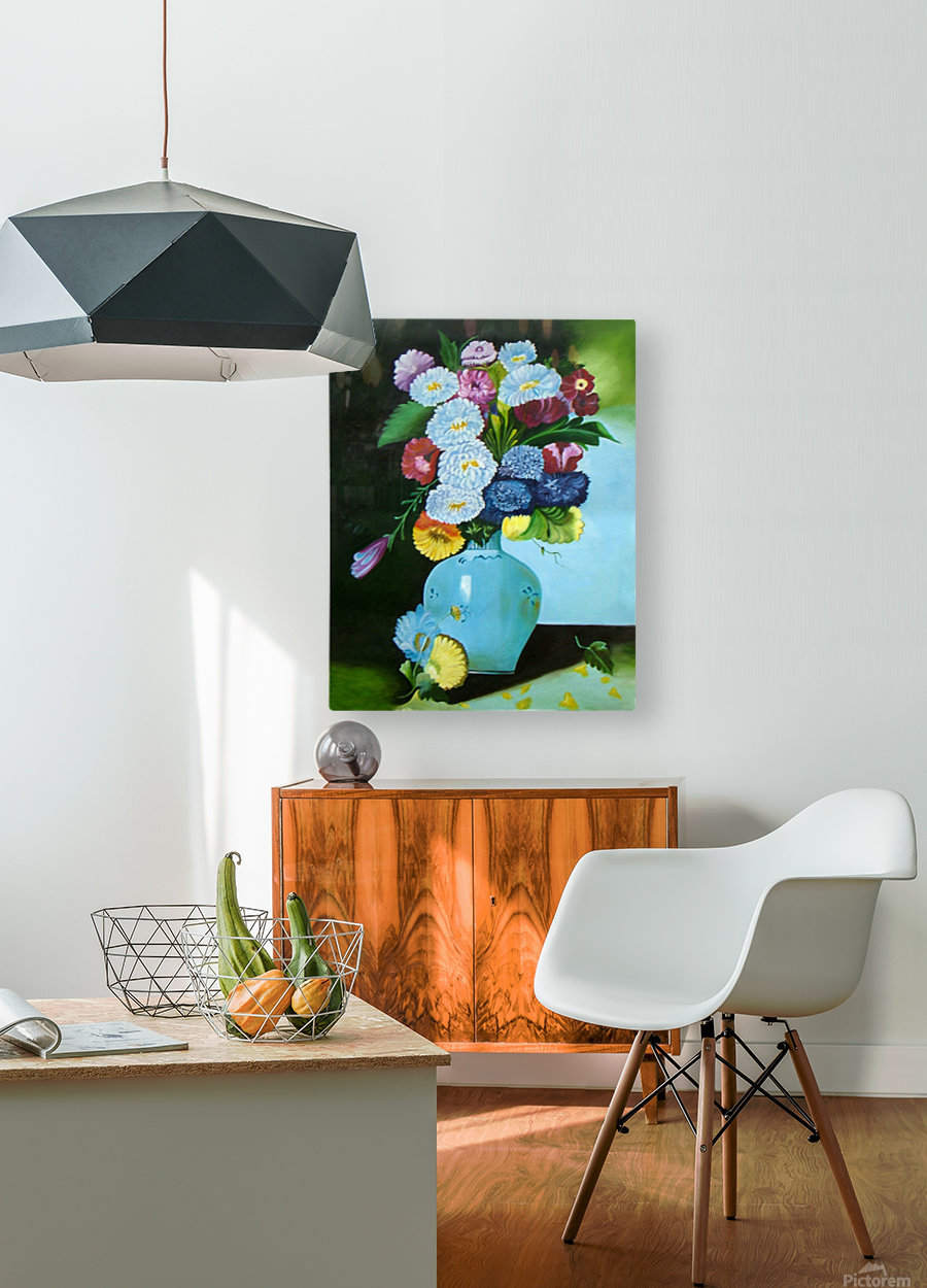 Floral Galaxy  HD Metal print with Floating Frame on Back