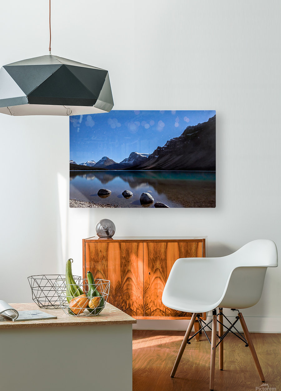 Bow lake under moonlight   HD Metal print with Floating Frame on Back