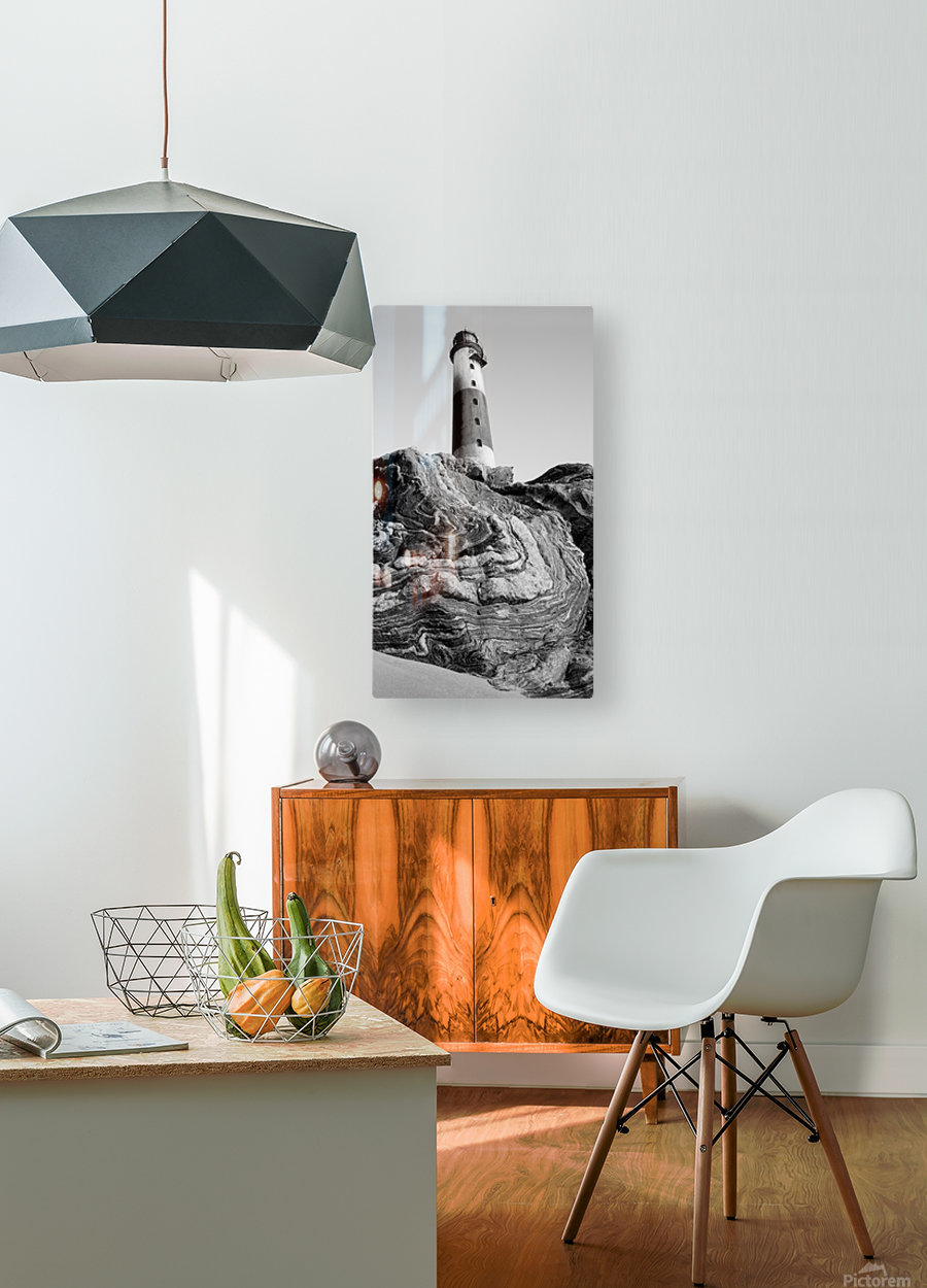 Lighthouse on Twisted Rock  HD Metal print with Floating Frame on Back