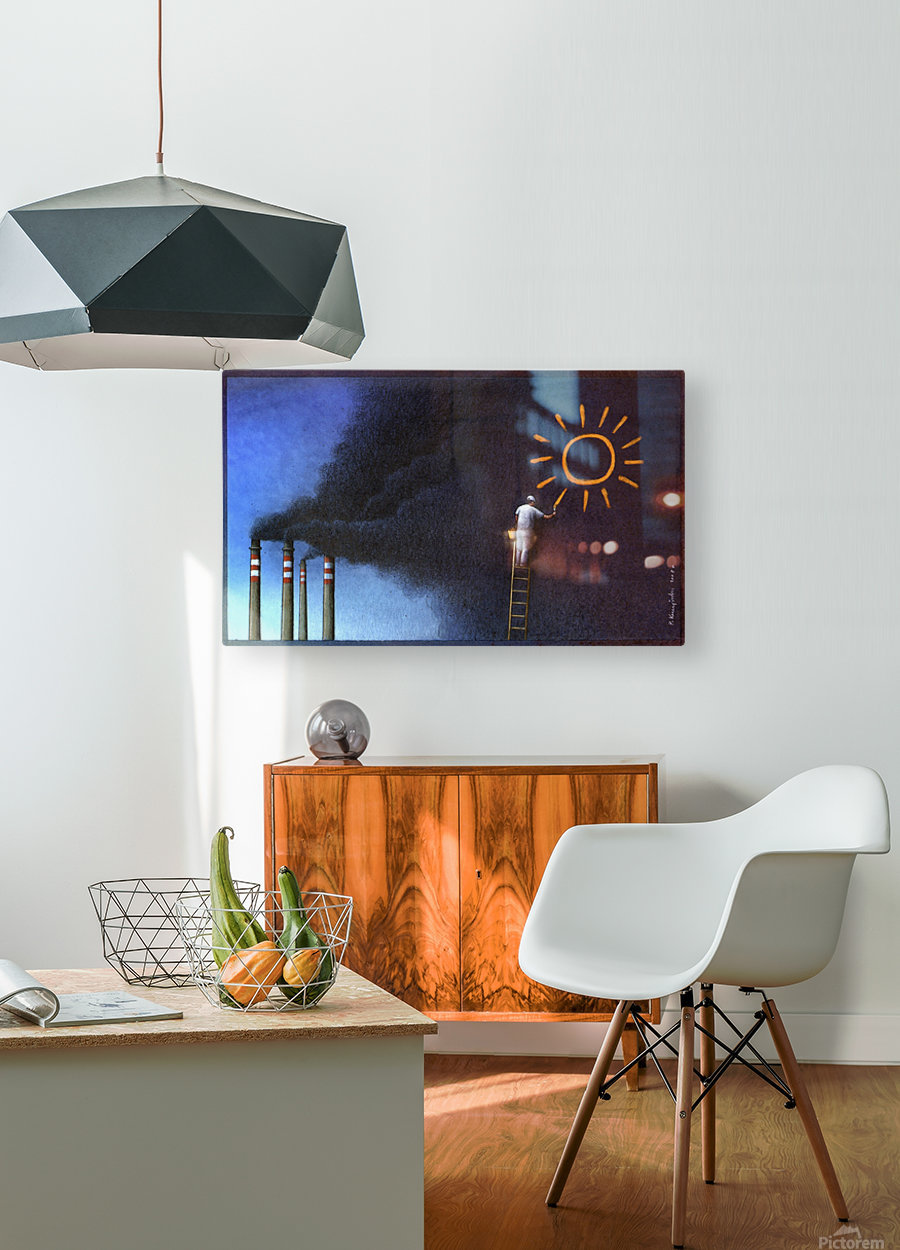 Sun  HD Metal print with Floating Frame on Back