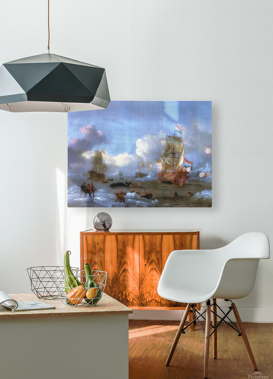 Walfang im Eismeer  HD Metal print with Floating Frame on Back