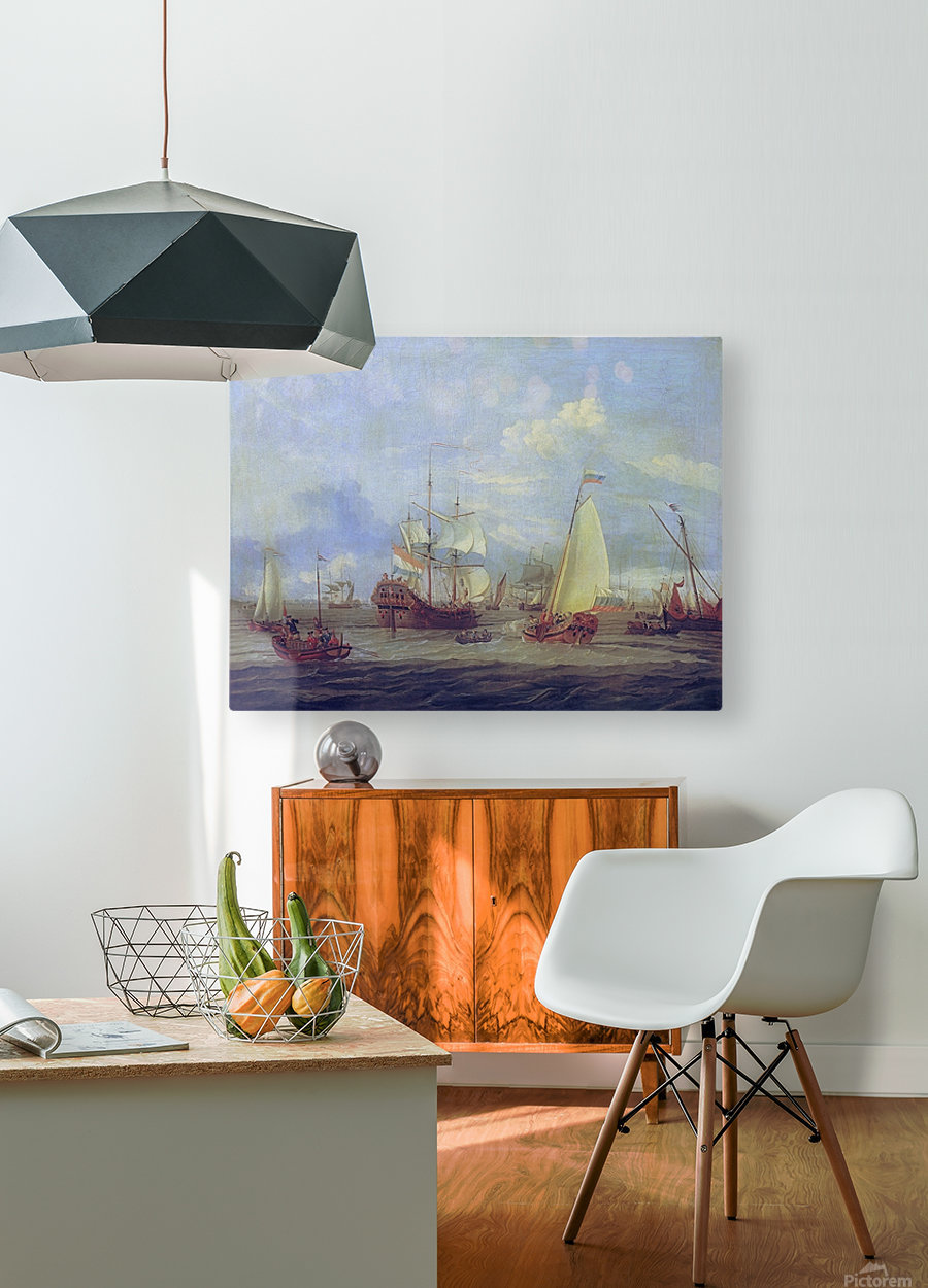 Peter the Great inspecting ship at Amsterdam  HD Metal print with Floating Frame on Back