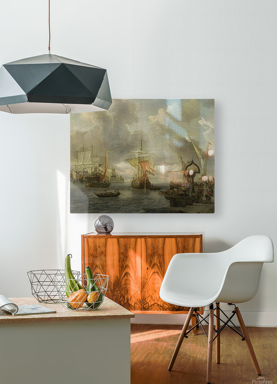 View of a Harbour on the Zuiderzee  HD Metal print with Floating Frame on Back