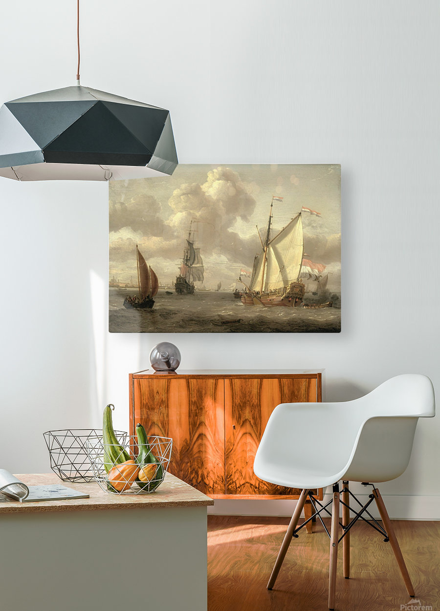 Ship on the River IJ in Amsterdam, around 1661  HD Metal print with Floating Frame on Back