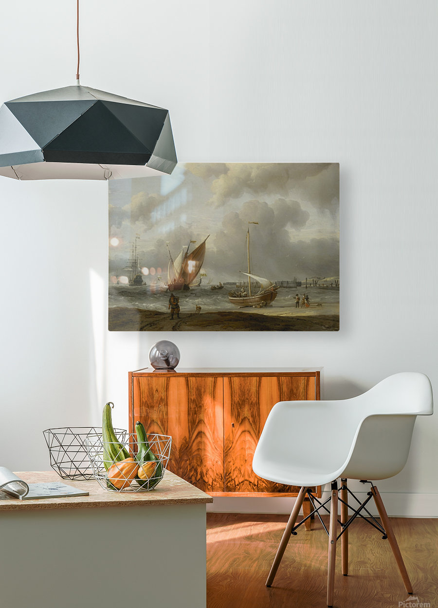 Fishing boats in storm off the Dutch Coast at Den Helder  HD Metal print with Floating Frame on Back
