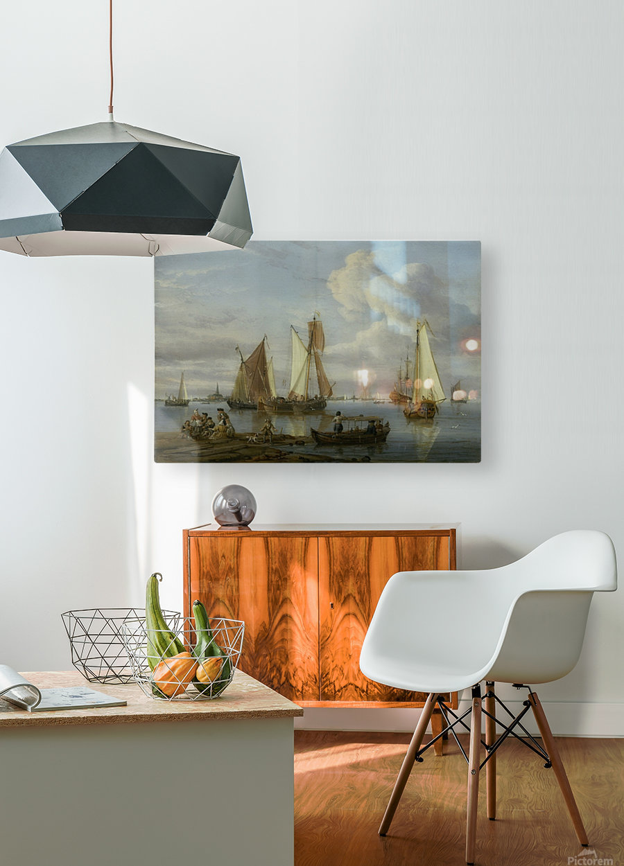 Dutch Shipping in an Estuary  HD Metal print with Floating Frame on Back