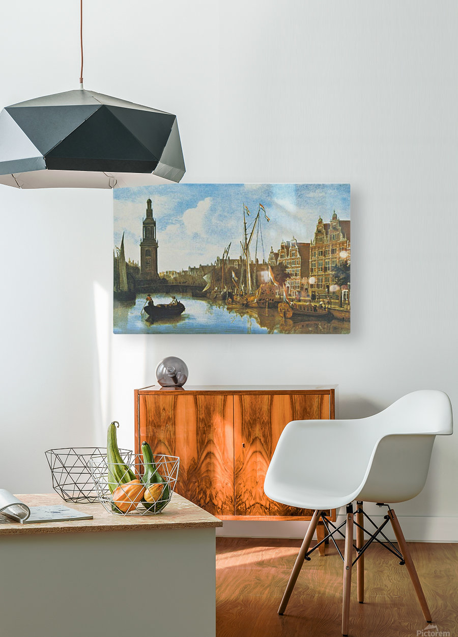 Singel in Amsterdam with the Jan Roodenpoortstoren  HD Metal print with Floating Frame on Back