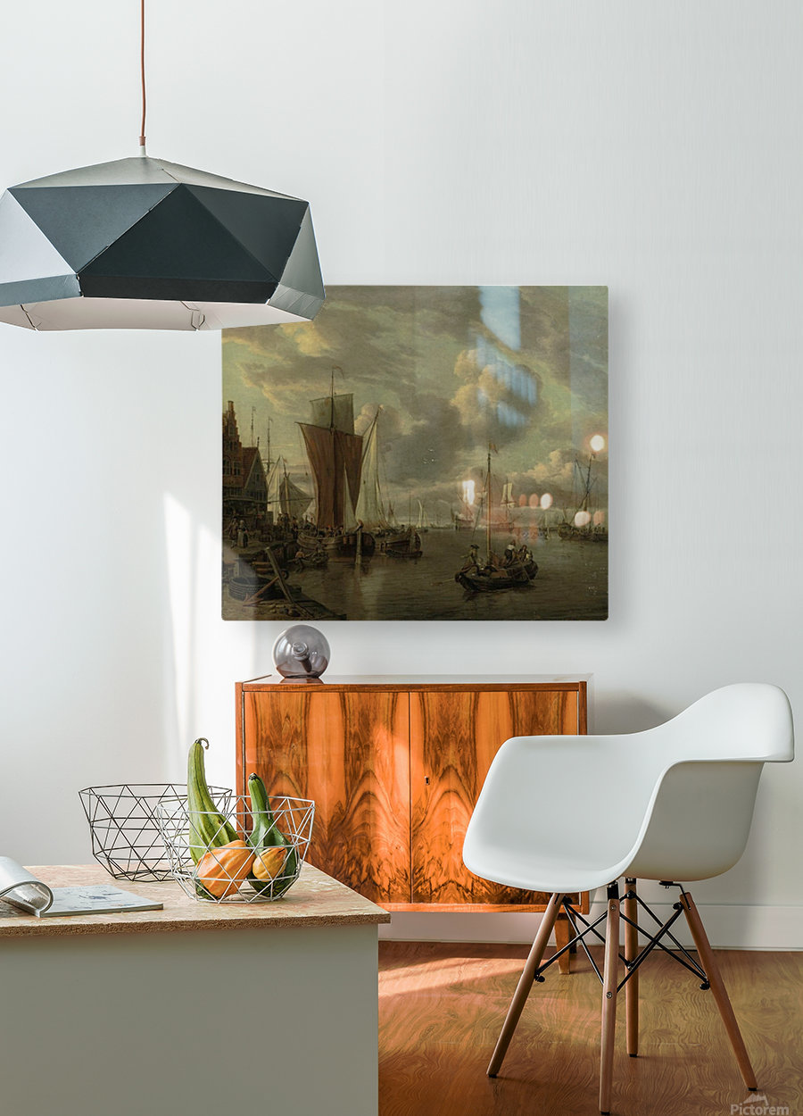 Quayside with extensive shipping  HD Metal print with Floating Frame on Back