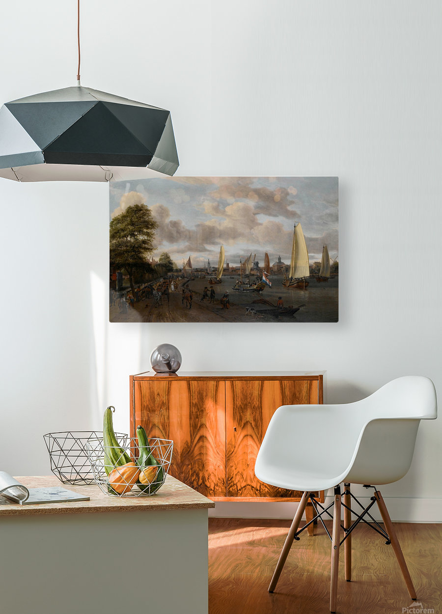 The river Buiten-Amstel with a trekschuit and other shipping  HD Metal print with Floating Frame on Back