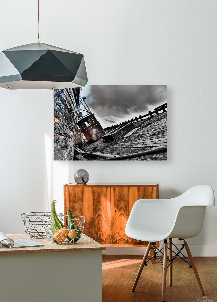 Angled wreck  HD Metal print with Floating Frame on Back