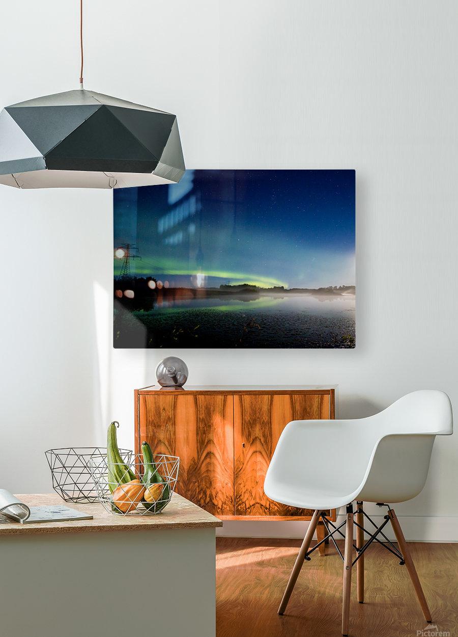 Moonlit Aurora  HD Metal print with Floating Frame on Back