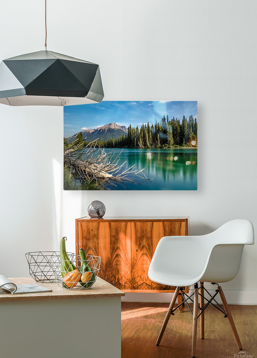 Summer Bow river  HD Metal print with Floating Frame on Back