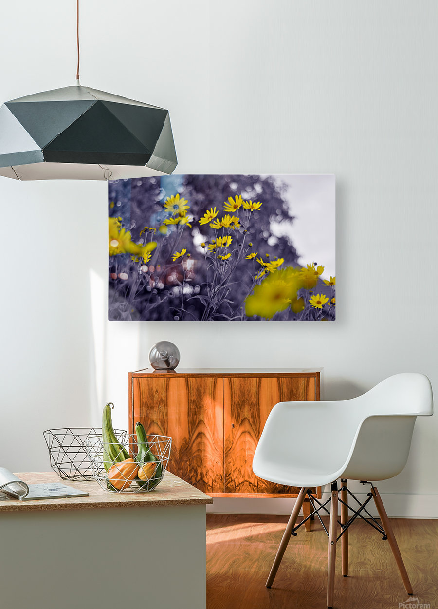 Still yellow  HD Metal print with Floating Frame on Back