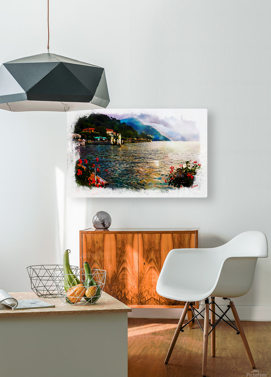 watercolor como  HD Metal print with Floating Frame on Back