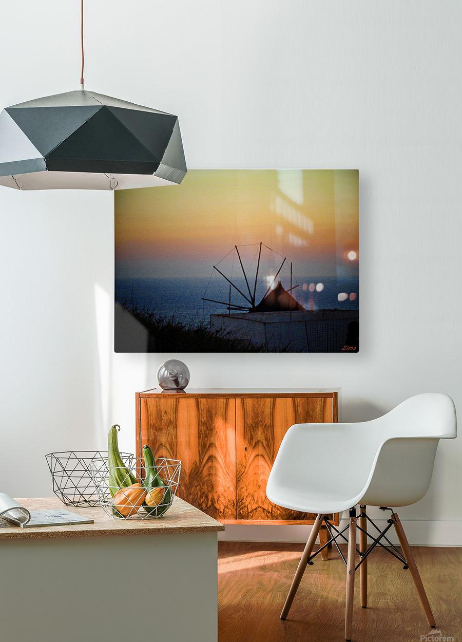 Santorini Sunset  HD Metal print with Floating Frame on Back