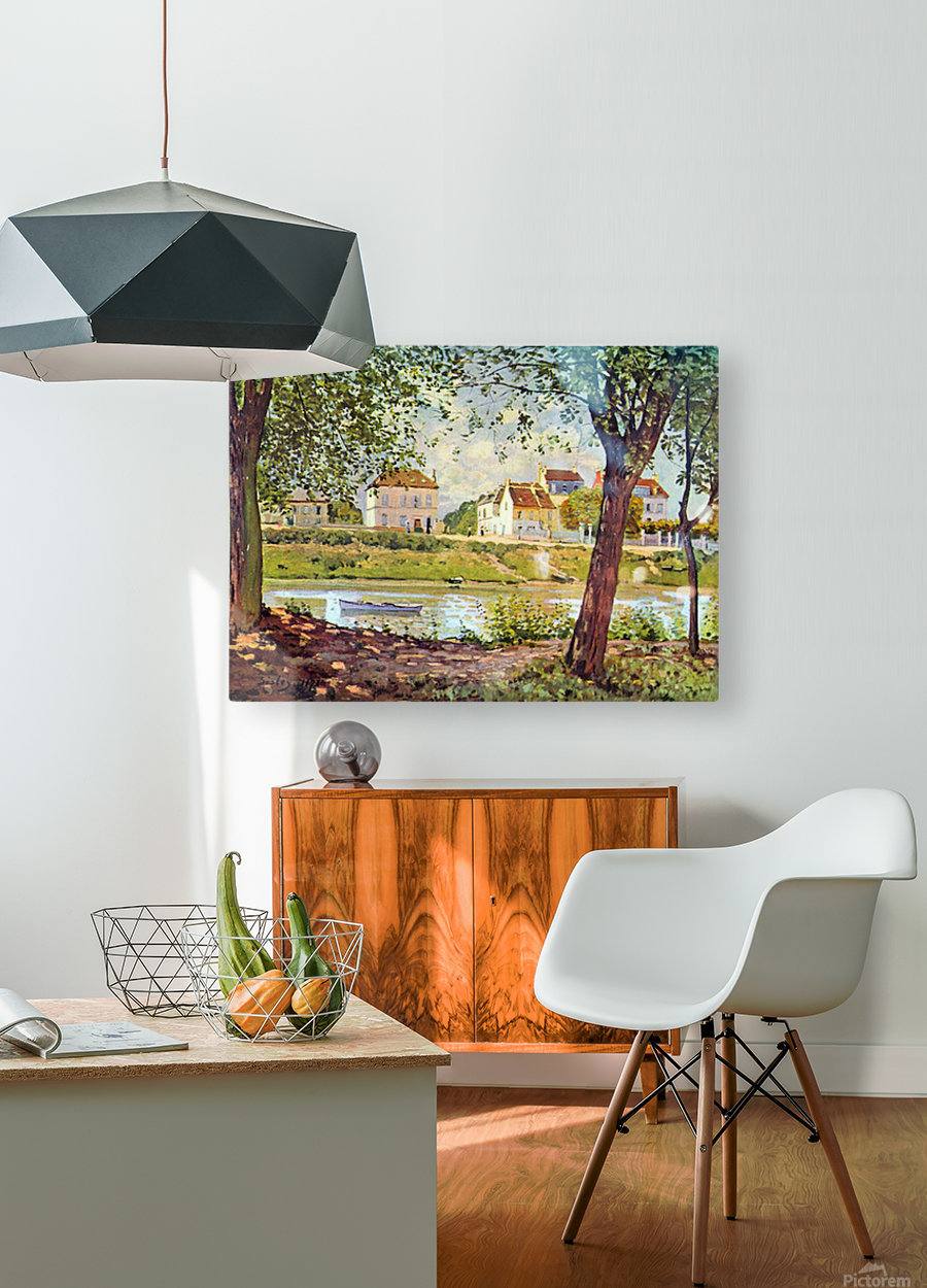 Village on the banks of the Seine by Sisley  HD Metal print with Floating Frame on Back