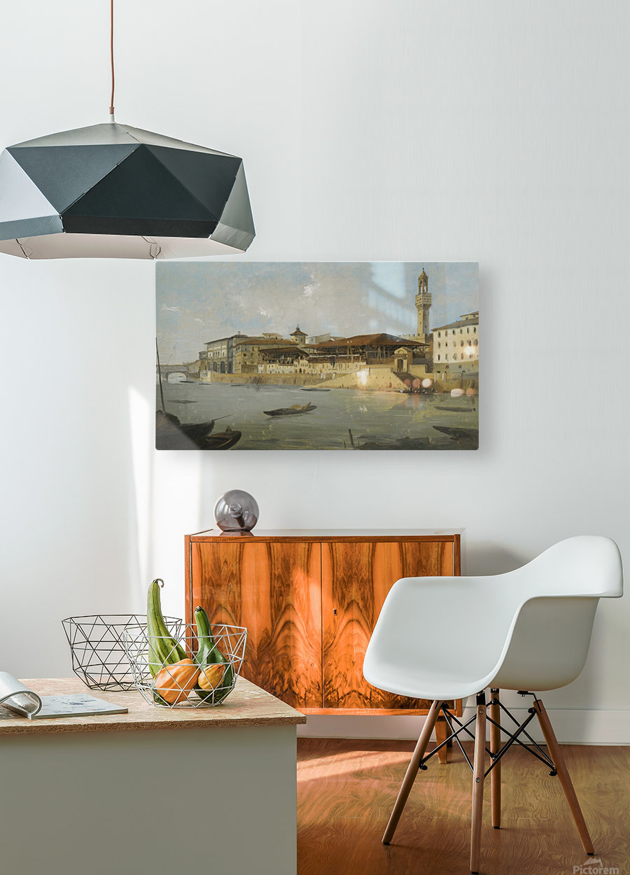 Florence, a view of the Arno with the Tiratoio delle Grazie  HD Metal print with Floating Frame on Back
