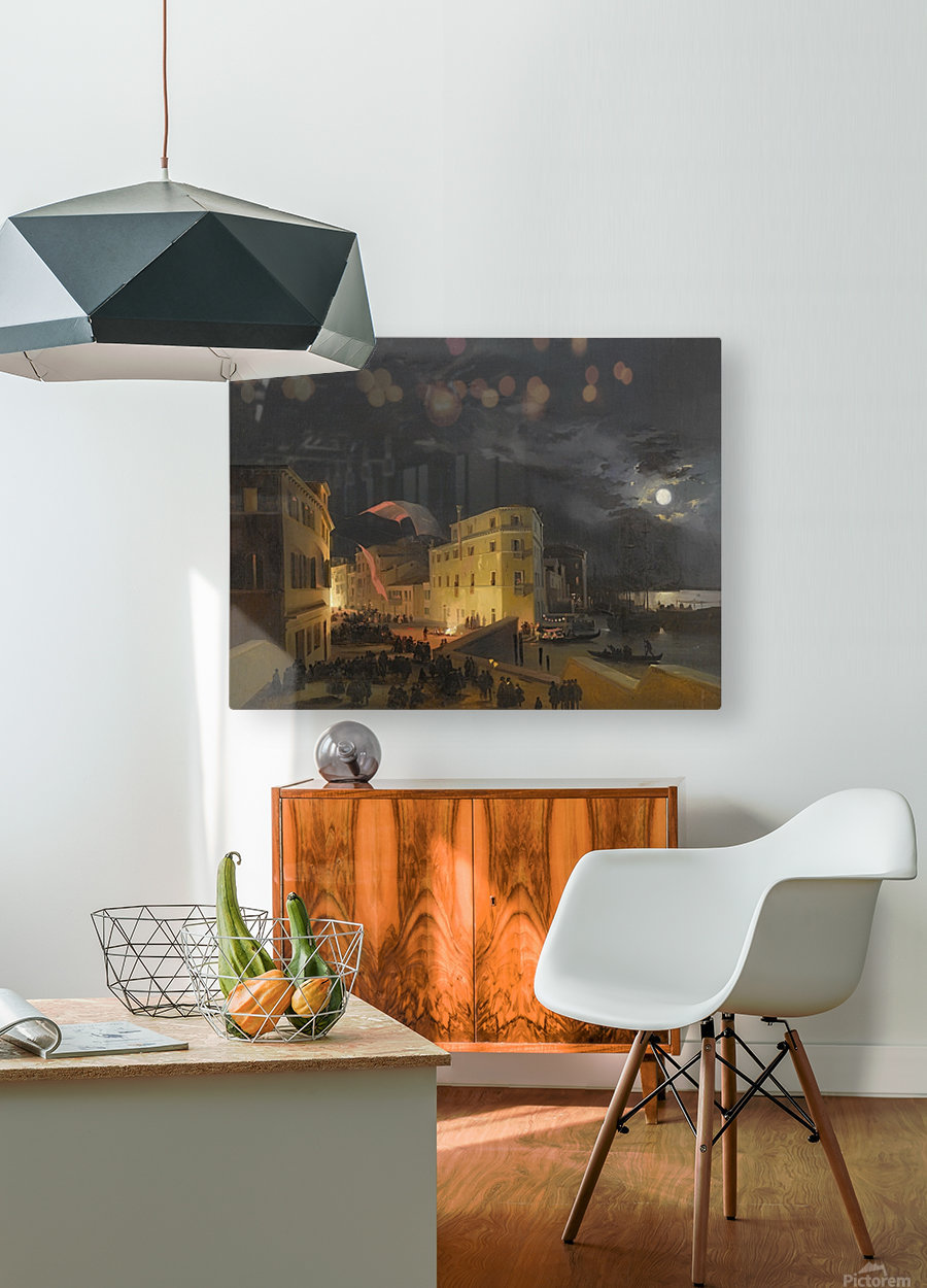 Venice, Nocturnal Festivities on the Via Eugenia  HD Metal print with Floating Frame on Back
