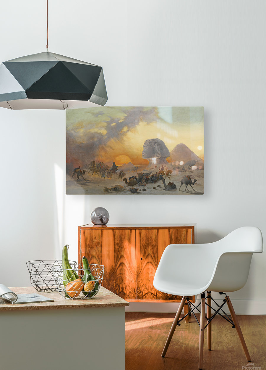 A caravan fleeing from a desert simoom near the sphinx  HD Metal print with Floating Frame on Back