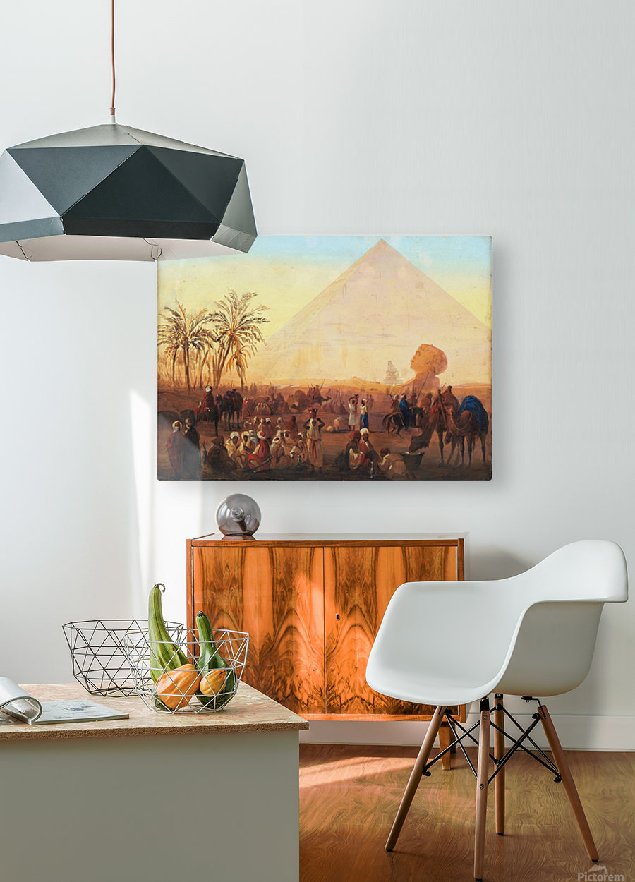 Caravan having a break at the pyramids  HD Metal print with Floating Frame on Back