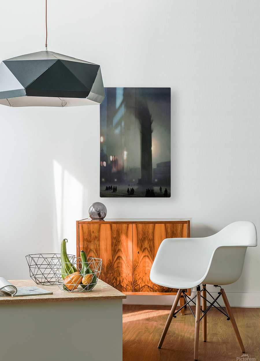 Night with fog in Piazza San Marco  HD Metal print with Floating Frame on Back