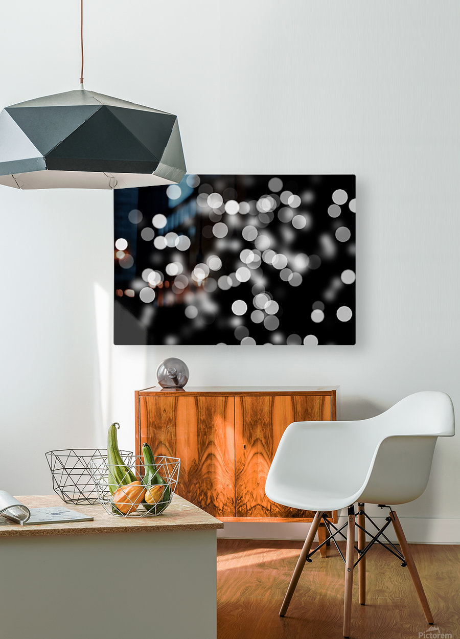 Bokeh Out Of Focus Black White Background Light  HD Metal print with Floating Frame on Back