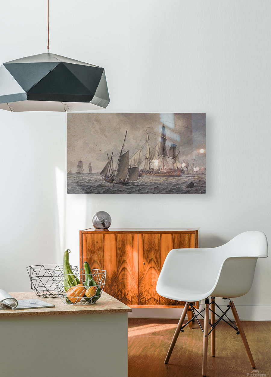 Frigate and fishing boats in harbor in the collection at The Mariners  HD Metal print with Floating Frame on Back