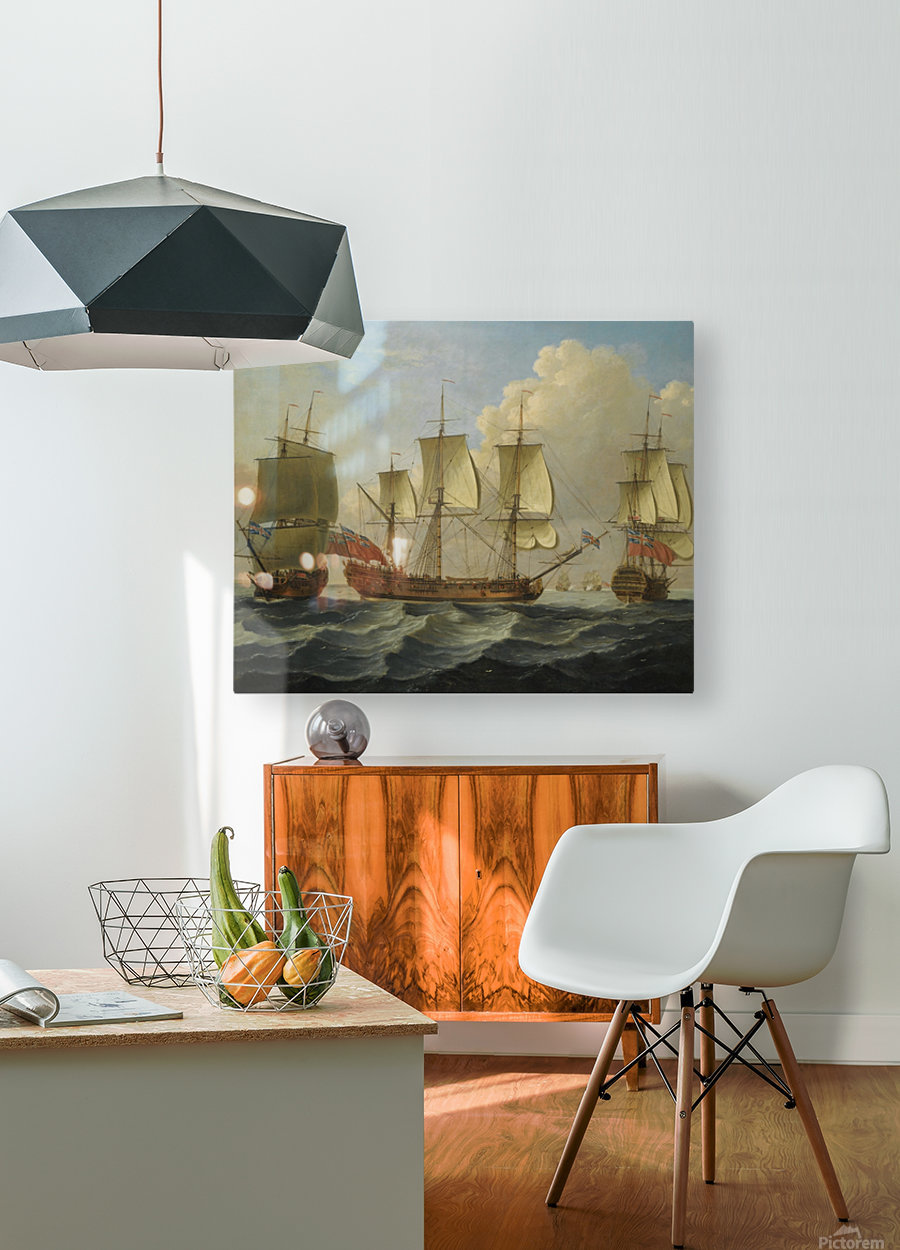 An East Indiamam in three pasitions  HD Metal print with Floating Frame on Back