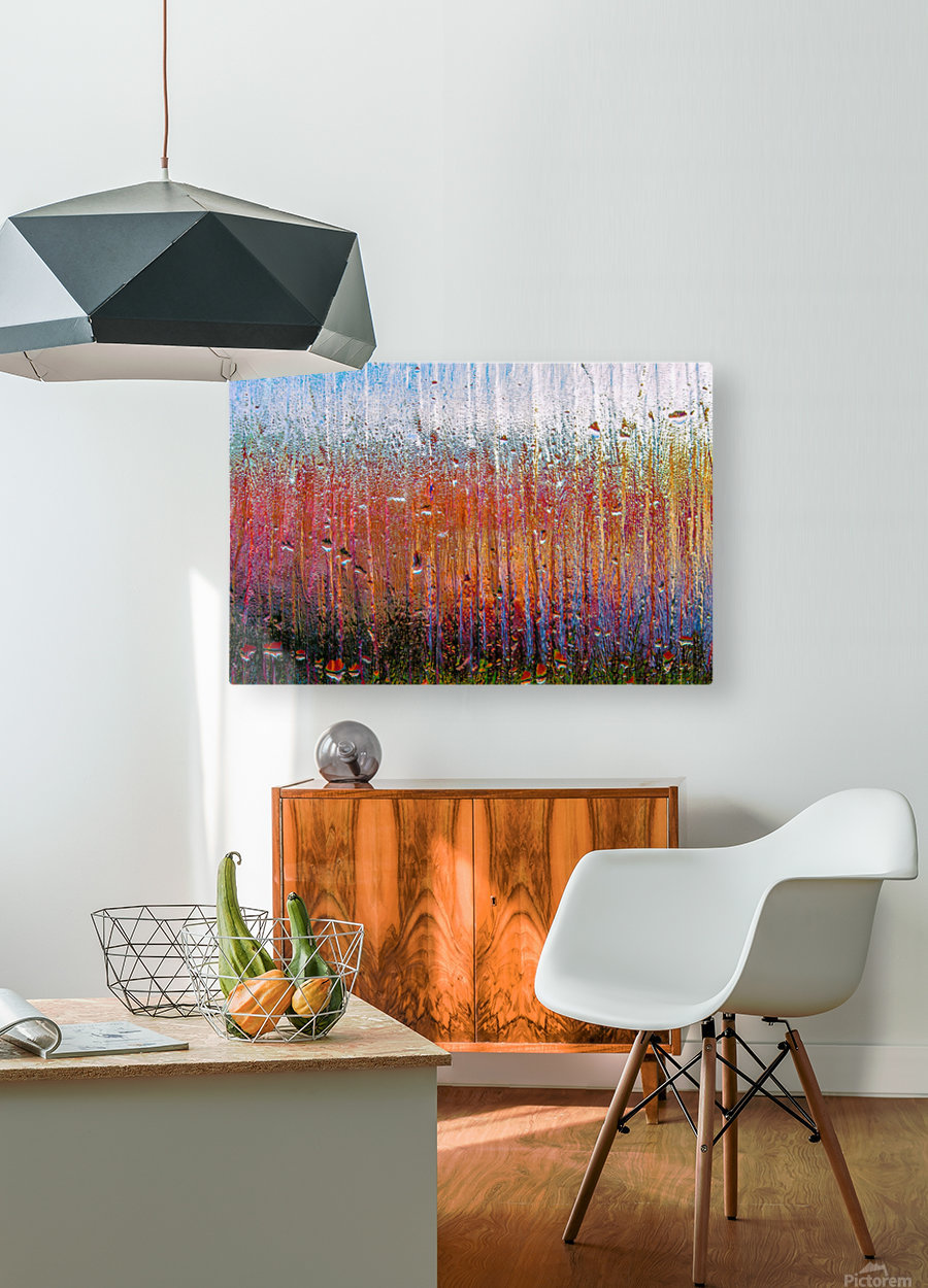Glass Colorful Abstract Background Color Drip  HD Metal print with Floating Frame on Back