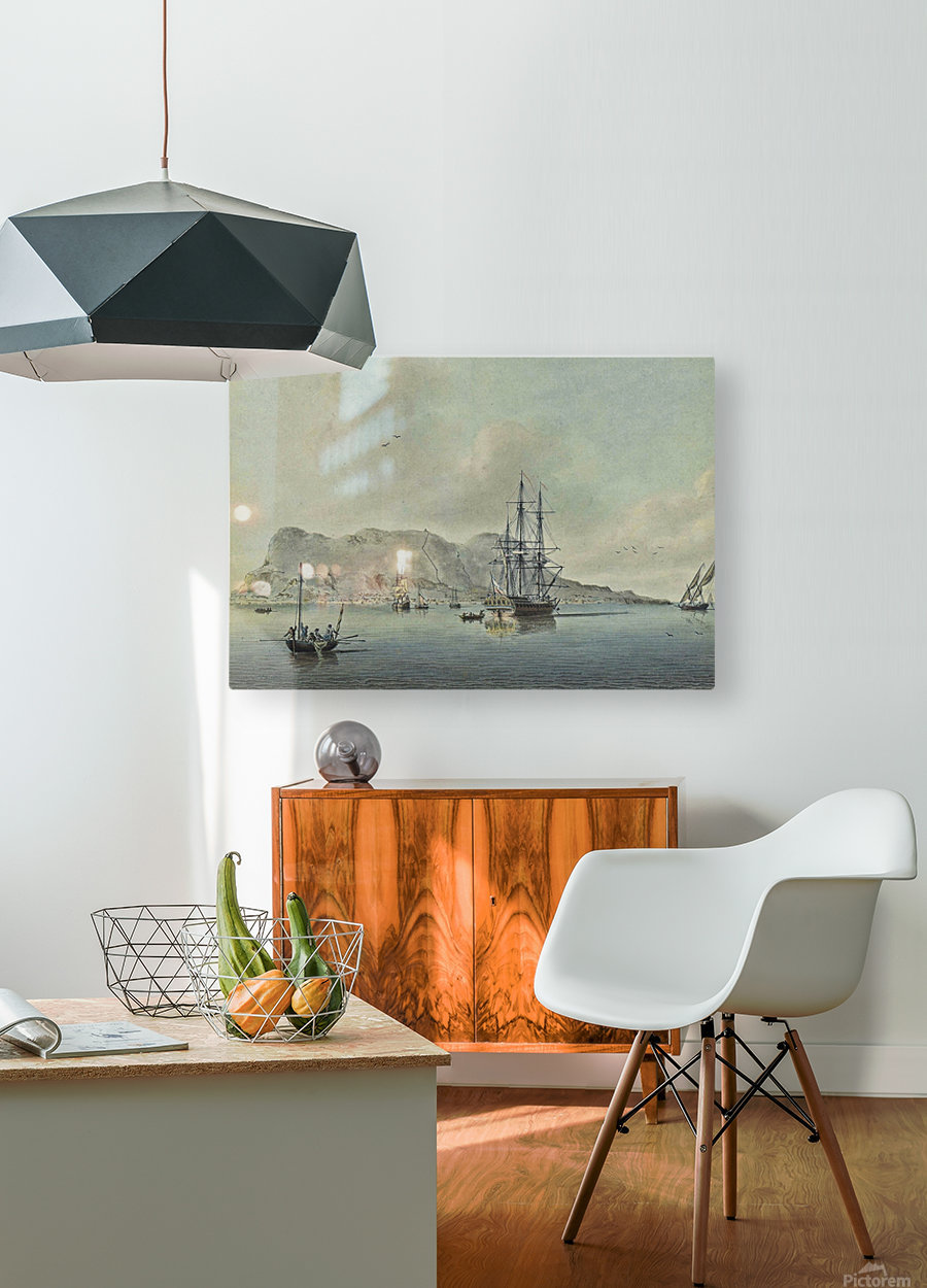 A naval lugger approaches a frigate  HD Metal print with Floating Frame on Back