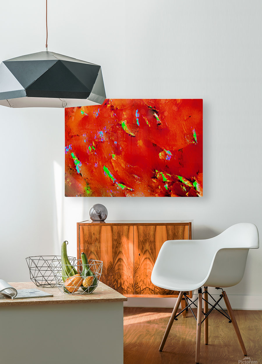 Background Abstract Leaves Seasons Orange Oranges  HD Metal print with Floating Frame on Back