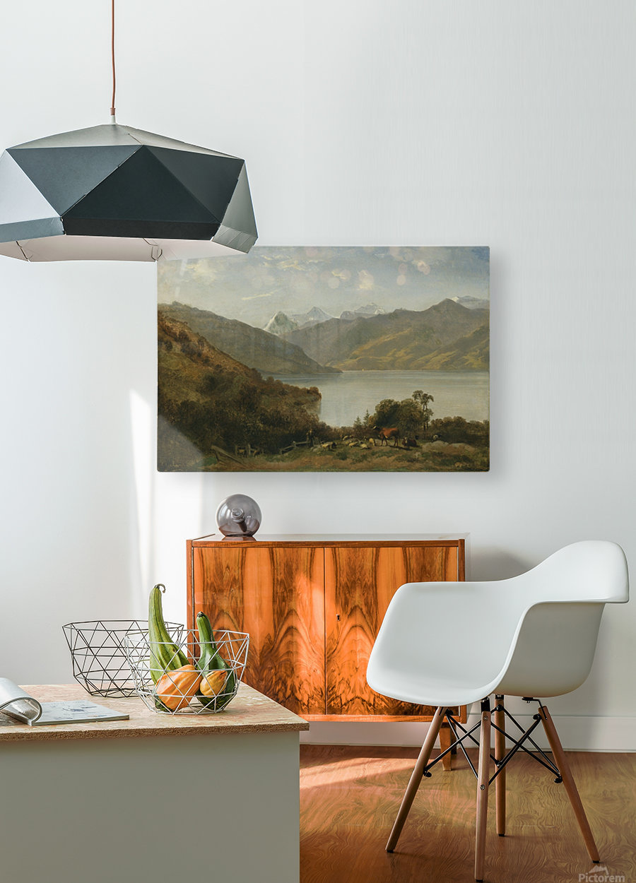 Landscape with a lake and animals  HD Metal print with Floating Frame on Back