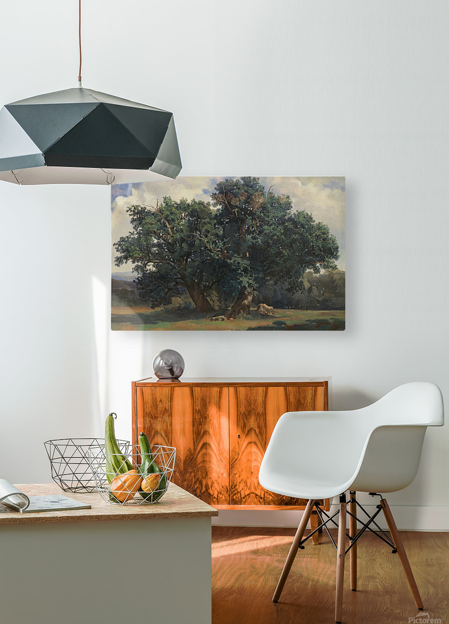 Painting of a big green tree  HD Metal print with Floating Frame on Back