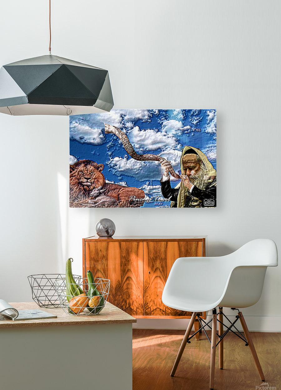 Art   Pinchos   shofar   LION  3D  1  HD Metal print with Floating Frame on Back