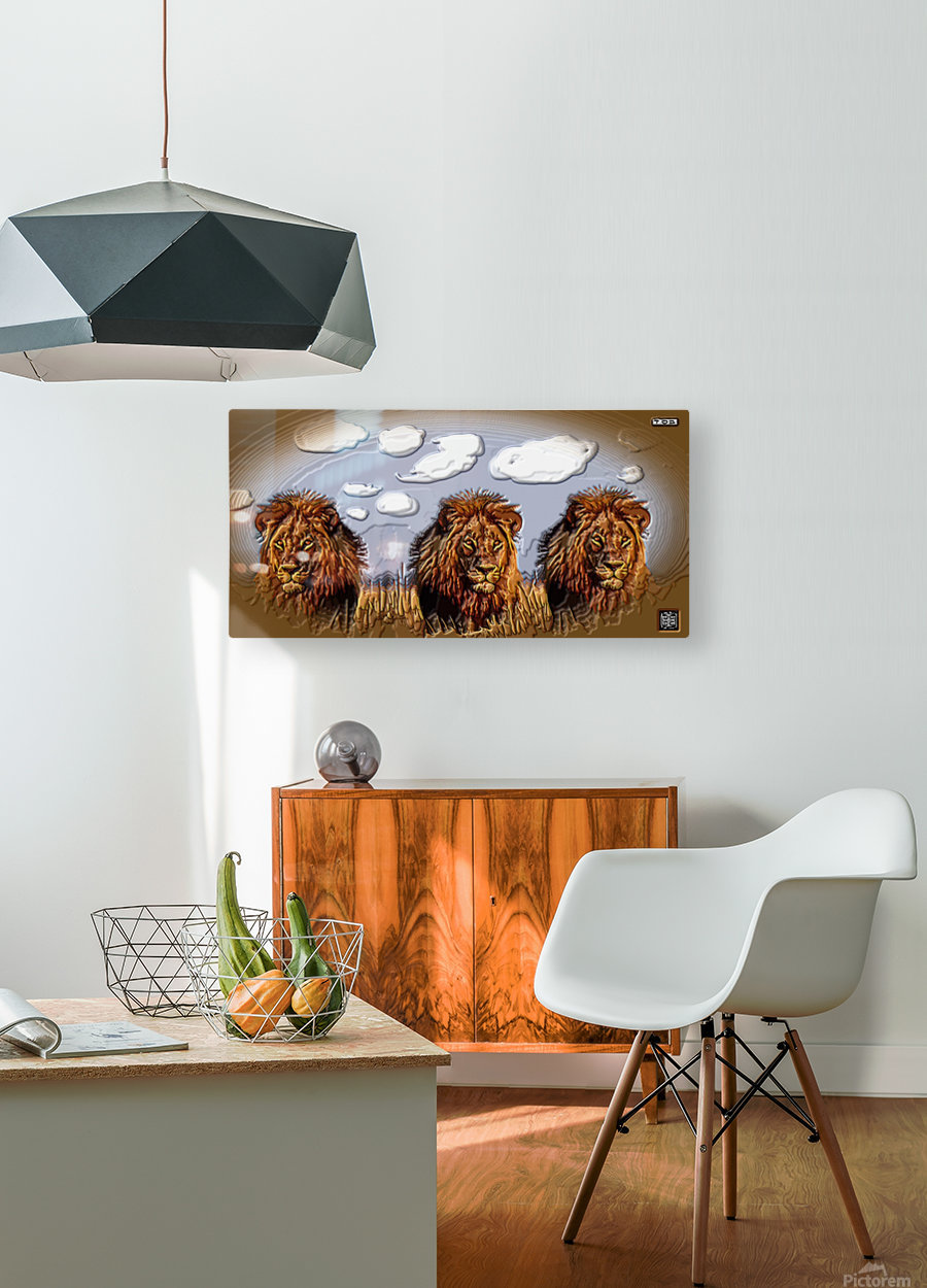art   lion 3D  A  HD Metal print with Floating Frame on Back