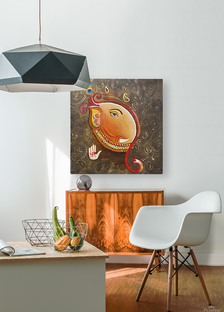 Ganesha the Great God  HD Metal print with Floating Frame on Back