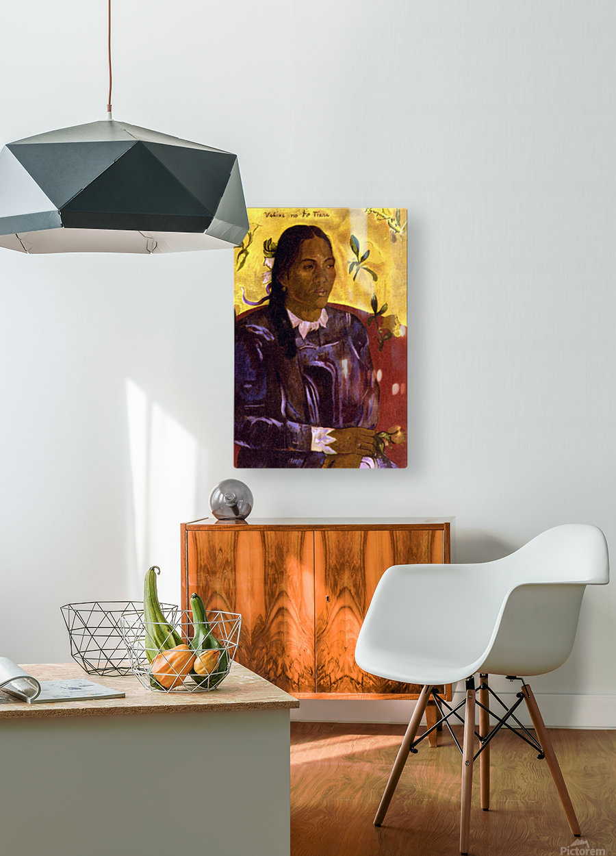 Woman with Gardenia by Gauguin  HD Metal print with Floating Frame on Back