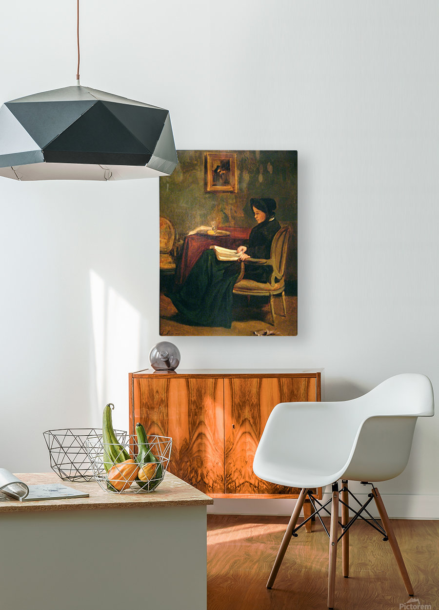 Seated woman reading, 1862  HD Metal print with Floating Frame on Back