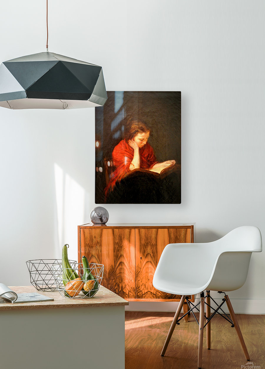 Woman reading  HD Metal print with Floating Frame on Back