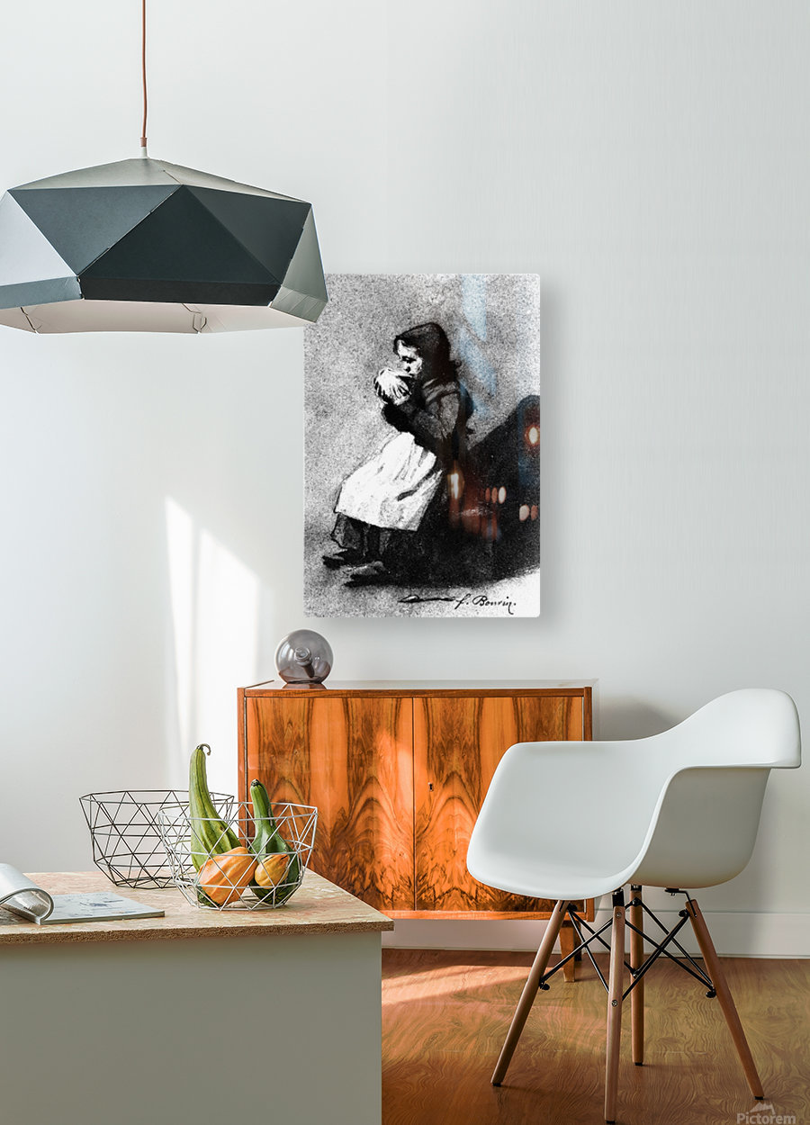 Girl Drinking from a Bowl  HD Metal print with Floating Frame on Back