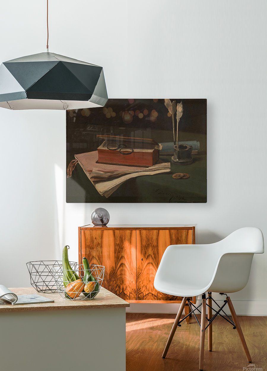 Still Life with Book, Papers and Inkwell  HD Metal print with Floating Frame on Back