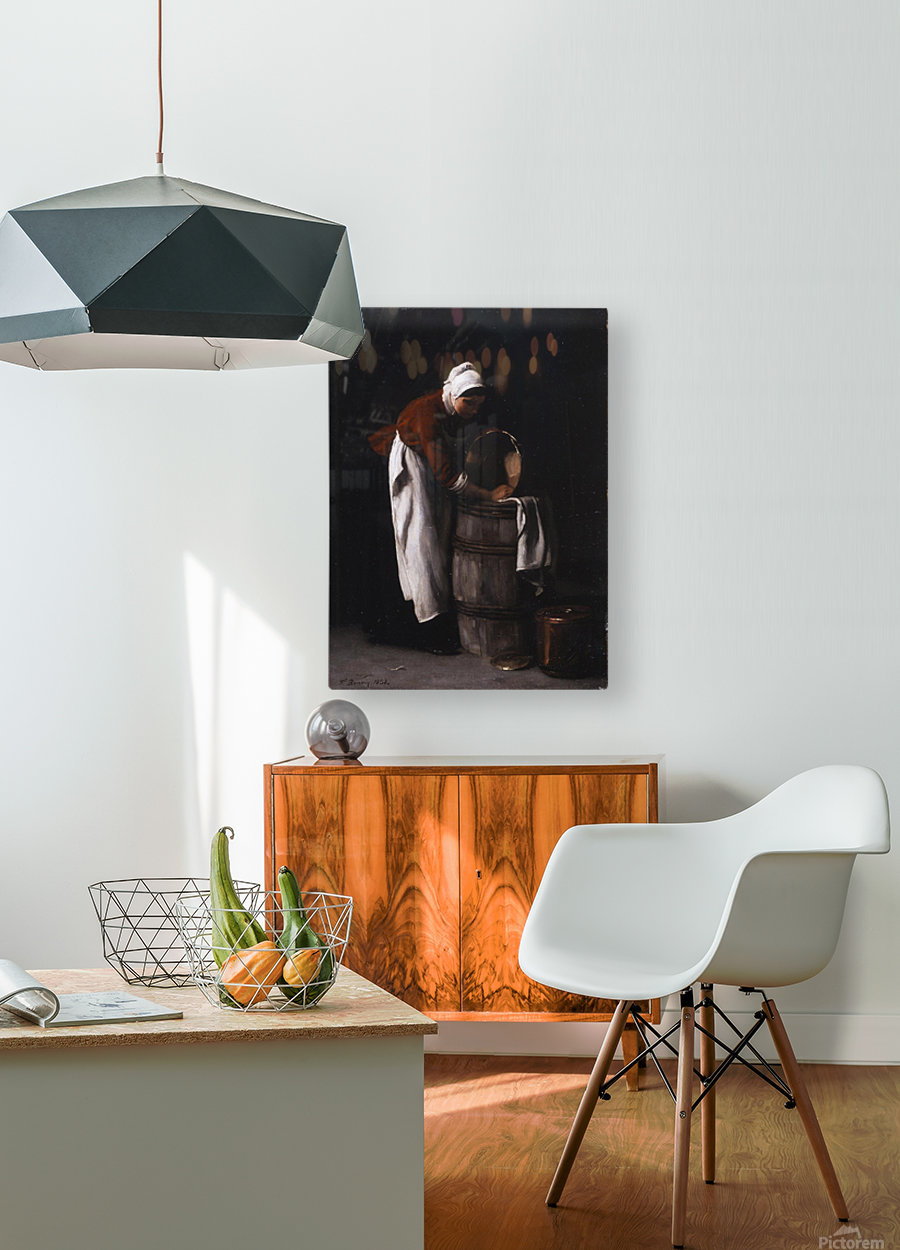 A woman cleaning a barrel  HD Metal print with Floating Frame on Back