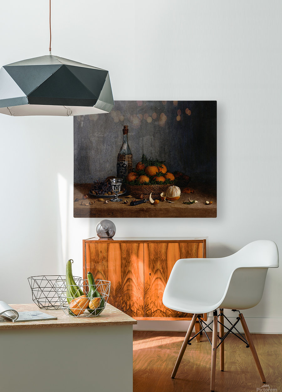 Still Life with Basket of Oranges  HD Metal print with Floating Frame on Back
