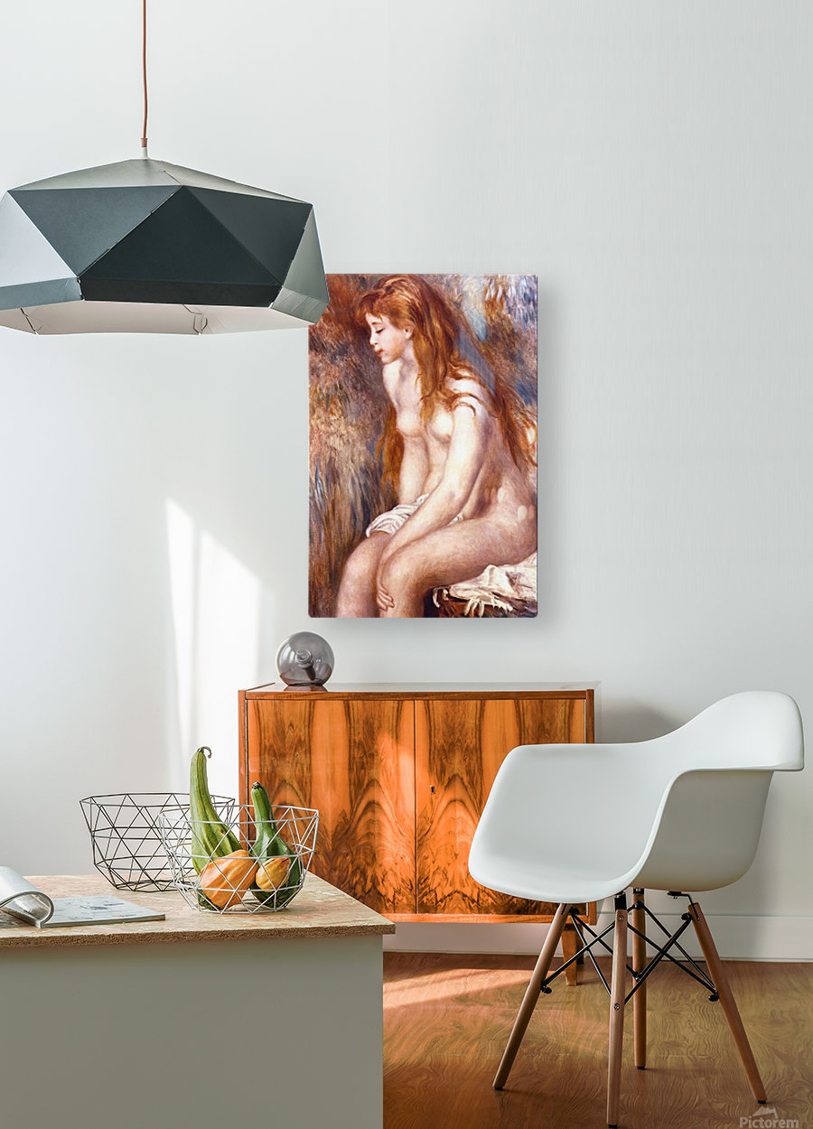 Young Girl Bathing by Renoir  HD Metal print with Floating Frame on Back