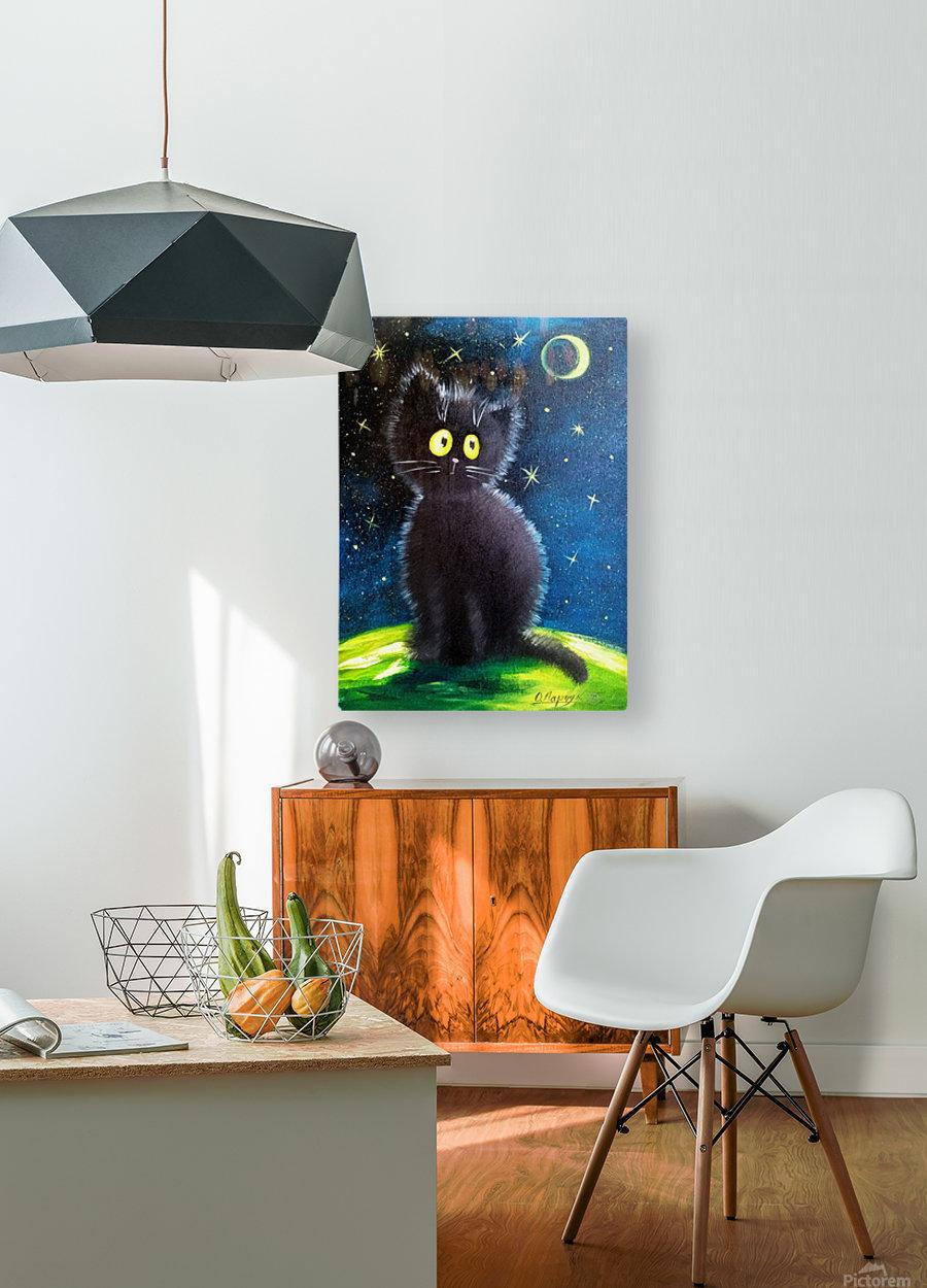 Черный кот  HD Metal print with Floating Frame on Back