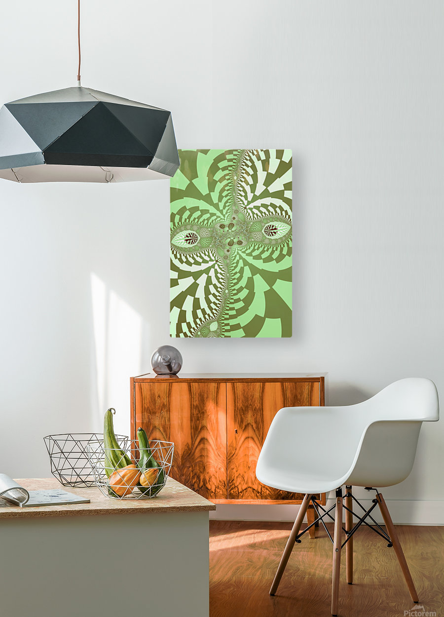 Green Abstract  HD Metal print with Floating Frame on Back