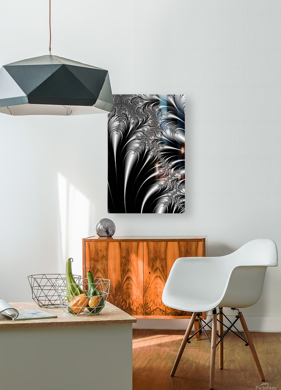 Silver And Black Abstract  HD Metal print with Floating Frame on Back
